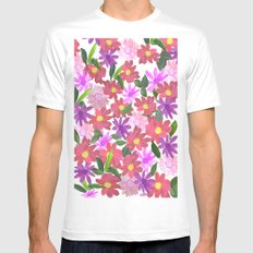 Flower Design SMALL White Mens Fitted Tee