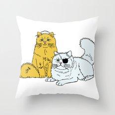 Navy Cats Throw Pillow