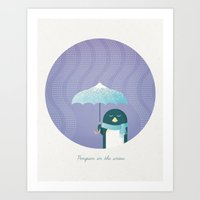 penguin Art Prints featuring Penguin by Travel Poster Co.