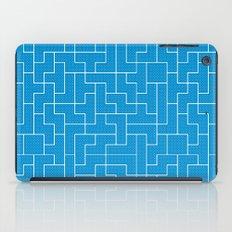 White Tetris Pattern on Blue iPad Case
