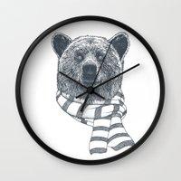Winter Bear Drawing Wall Clock