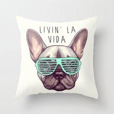 French bulldog - Livin' la vida Frenchie Throw Pillow
