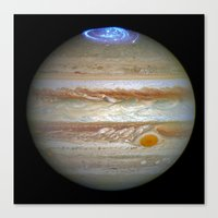 Hubble Captures Vivid Auroras in Jupiter's Atmosphere Canvas Print