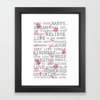 Inspirational Words Rose… Framed Art Print