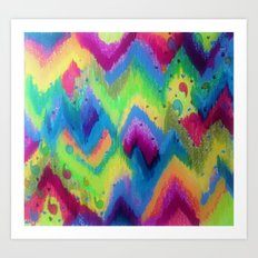 BOLD QUOTATION 2 - Colorful Bright Cheerful Fine Art Chevron Pattern Ikat Quote Modern Painting Art Print