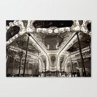 Carousel in B&W Canvas Print