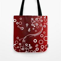 White Abstracts On Red Tote Bag