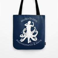 MadSea Nymph, white on blue Tote Bag