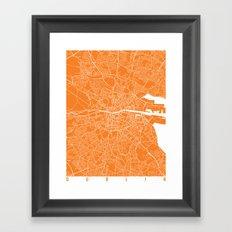 Dublin Map Orange Framed Art Print