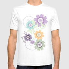 Flowers and Swirls White Mens Fitted Tee SMALL
