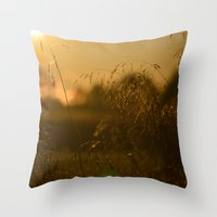 Delicate Grasses and Dew Throw Pillow