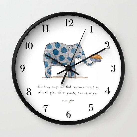 polka dot elephants serving us pie Wall Clock