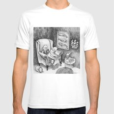 Whale Reader Mens Fitted Tee White SMALL