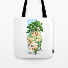 Pixel Landscape : Flying Rock Tote Bag