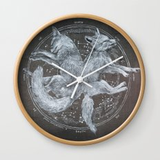 The White Foxes Wall Clock