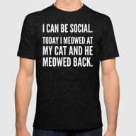 I Can Be Social Today I … Mens Fitted Tee Tri-Black SMALL
