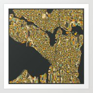 Art Print featuring SEATTLE MAP by Jazzberry Blue
