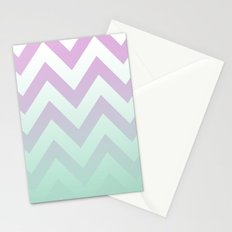 PINK CHEVRON MINT FADE Stationery Cards
