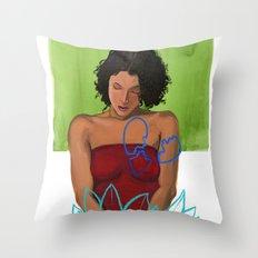 Amarican Lotus Throw Pillow