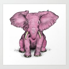 Pink Elephant and Roger Art Print