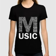 Chalkboard Music Genres Womens Fitted Tee Black LARGE