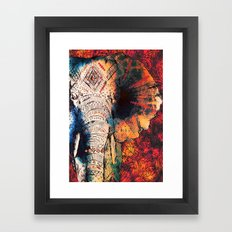 Indian Sketched Elephant Framed Art Print