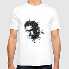 Johnny Cash botanical portrait Mens Fitted Tee SMALL White