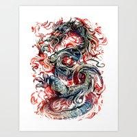 dragon Art Prints featuring Dragon by Kawiku