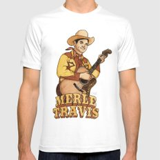 Merle Travis White Mens Fitted Tee SMALL