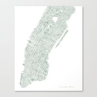 Map Manhattan NYC watercolor map Canvas Print