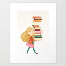 Library Girl 2 Art Print