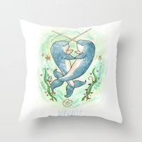 Narwaltz - Narwhal Valentine Throw Pillow