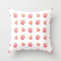 The Pink Tulip Pattern Throw Pillow