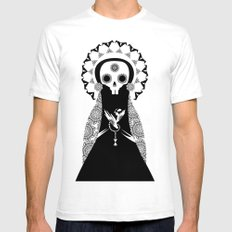 Santa Muerte White SMALL Mens Fitted Tee