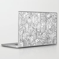 city Laptop & iPad Skins featuring Isometric Urbanism pt.1 by Herds of Birds