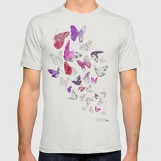 Butterflies Mens Fitted Tee Silver SMALL