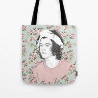H Circle Floral  Tote Bag