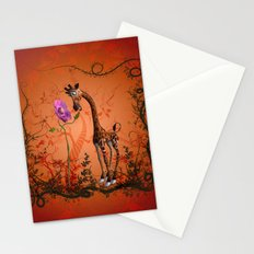 Cute giraffe with flower Stationery Cards