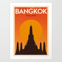 Bangkok City Retro Poste… Art Print