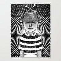 Fisher Man B/W Canvas Print