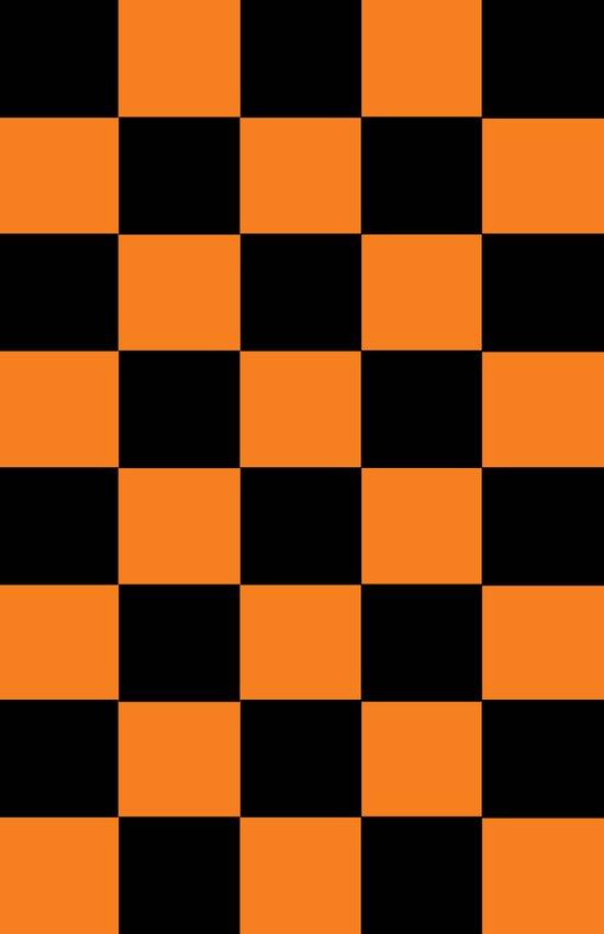 Black And Orange Checker Pattern Art Print
