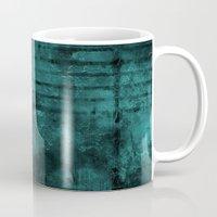 Turquoise Lined Rusted Metal Look Mug