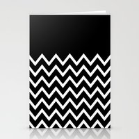White Chevron On Black Stationery Cards