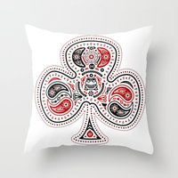 83 Drops - Clubs (Red & … Throw Pillow