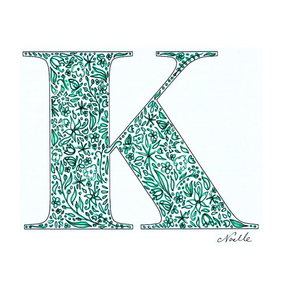 "Floral Letter ""K"" (turquoise) Art Print"
