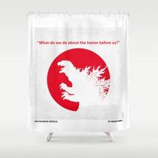 No029-2 My Godzilla 1954 minimal movie poster Shower Curtain