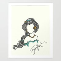 Princess Jasmine Zen Tangle Art Print