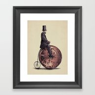 Framed Art Print featuring Penny Farthing  by Eric Fan