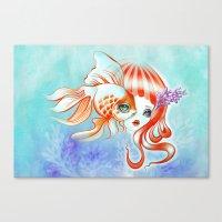 Jellyfish Girl & Goldfish Canvas Print