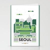 City Illustrations (Seoul, South Korea) Stationery Cards